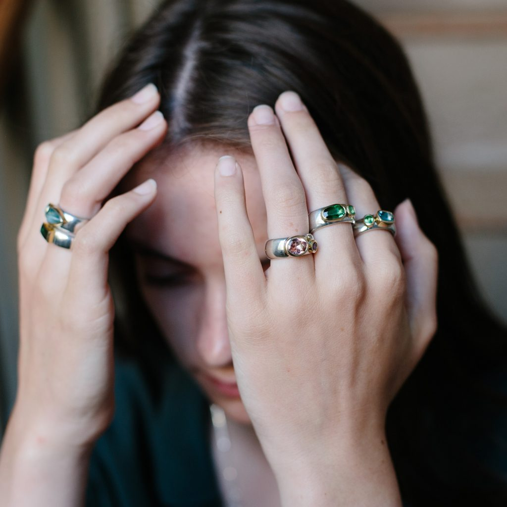 chunky wide rings with multiple semiprecious stones