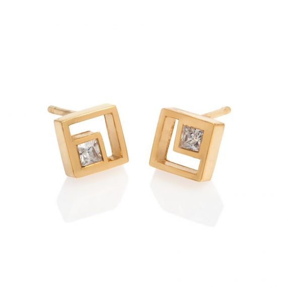 18ct square diamond studs