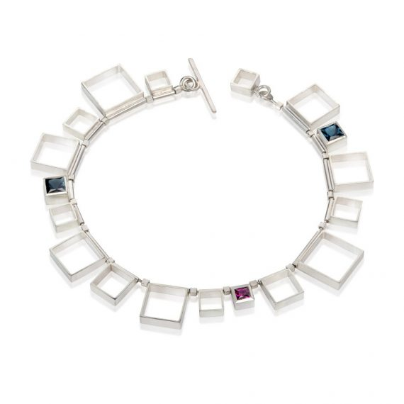 Silver open square bracelet with topaz and rhodolite Garnet
