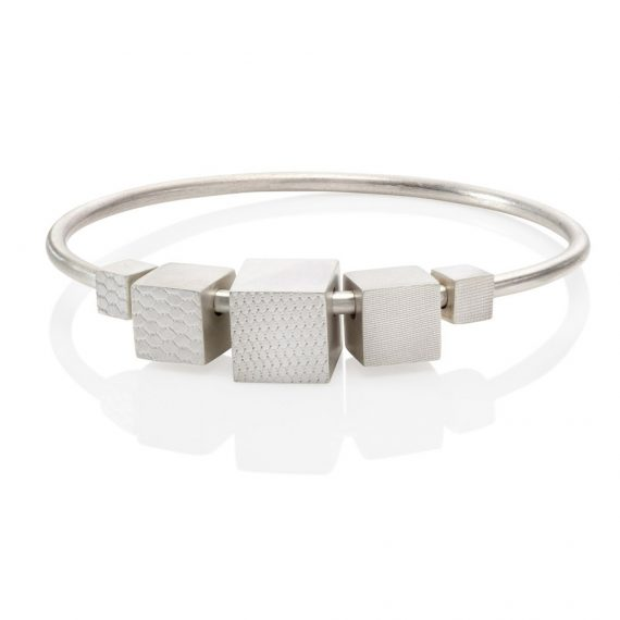 silver bangle with 5 moveable cubes