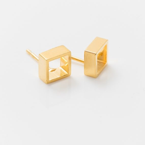 gold open square stud earrings