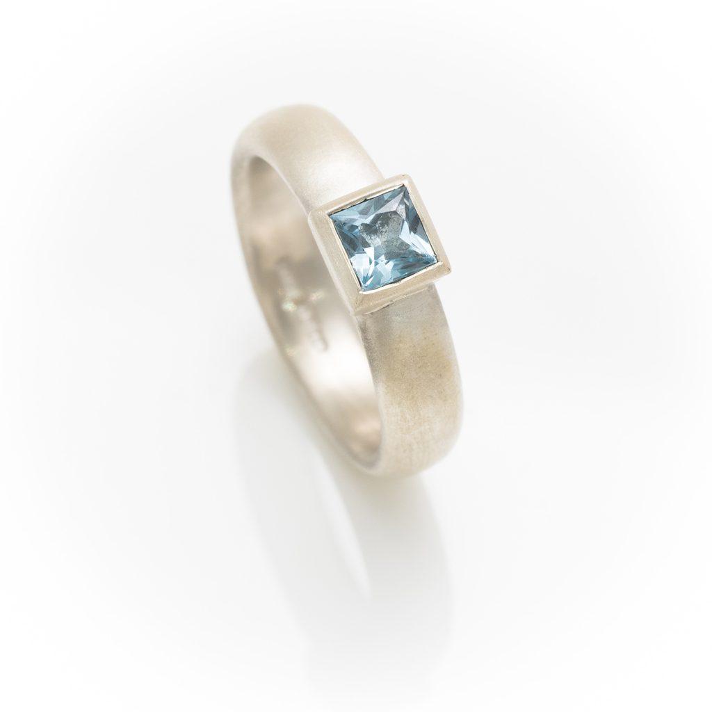 silver matt ring with square Topaz
