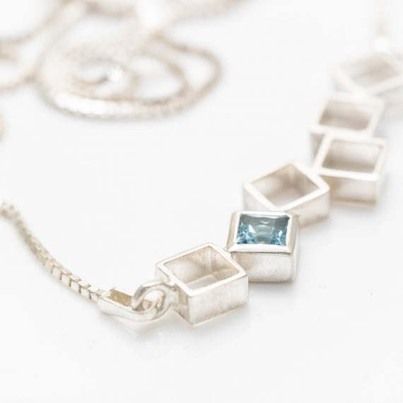 random square necklace with topaz