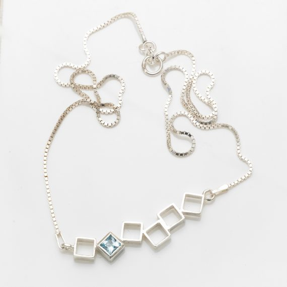 random square necklace with topaz
