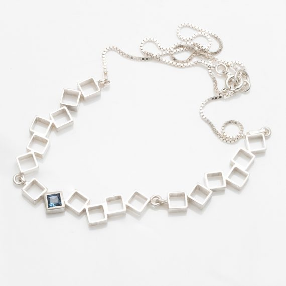 open square necklace with topaz