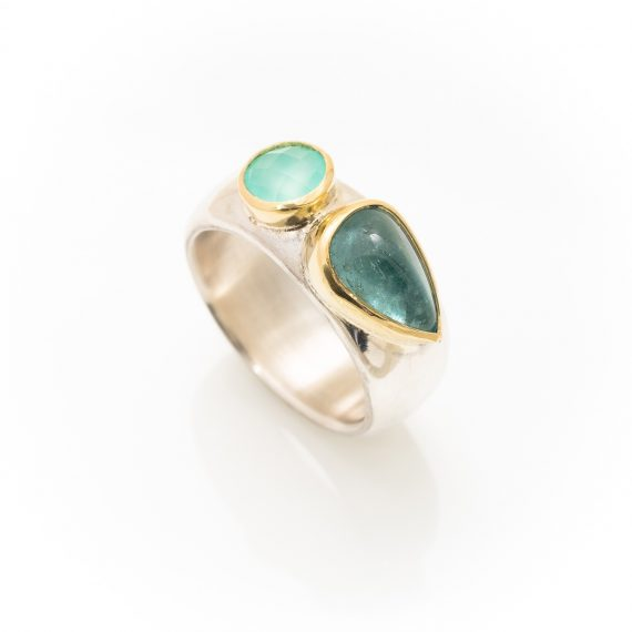 Wide Silver ring with Tourmaline and Opal set in 18ct gold