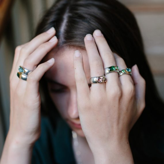 Chunky rings with gold settings and semi precious stones