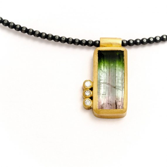 tricolour tourmaline and diamonds necklace