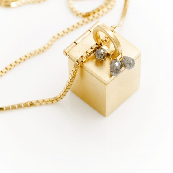 Gold vermeil box pendant with grey diamonds