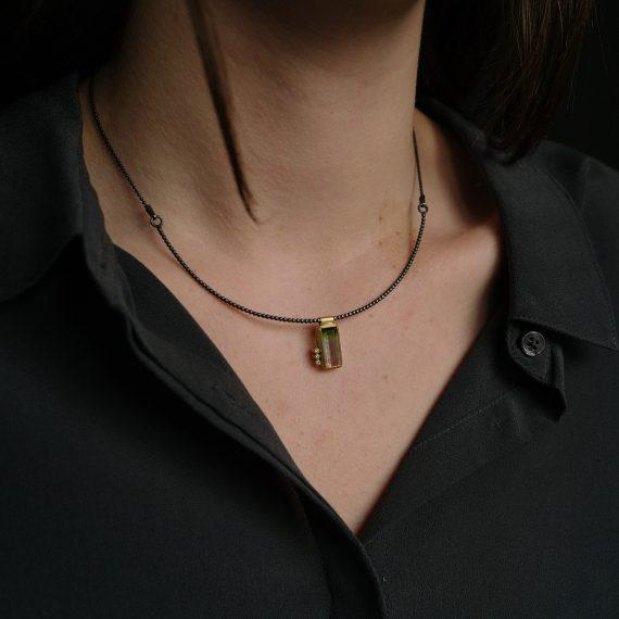 18ct gold watermelon tourmaline necklace