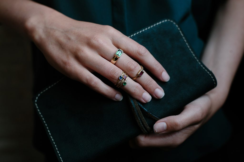 Gold rings, tourmaline, emerald, sapphire and ruby