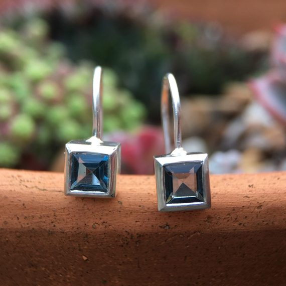 Silver London blue square topaz stud drop earrings