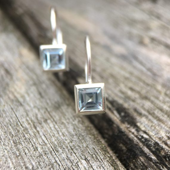 Silver square pale blue topaz stud drop earrings