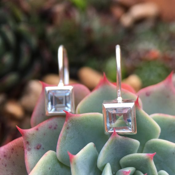 Silver and Pale blue square topaz drop stud