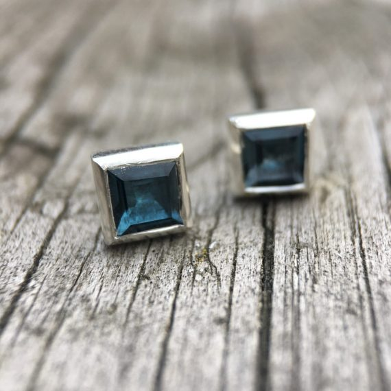 Pale blue Topaz square studs