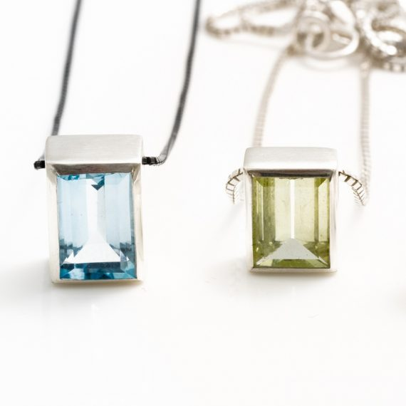 topaz and beryl rectangular pendant