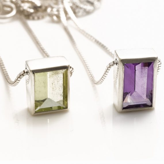 beryl and amethyst rectangular pendant