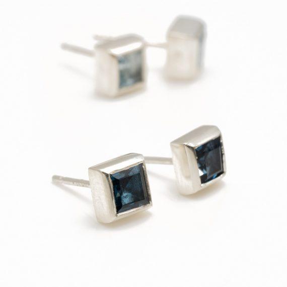 square topaz stud earring