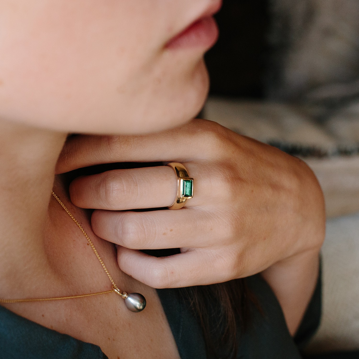 Chunky 9ct Gold ring with Green Tourmaline - Alice Robson ...