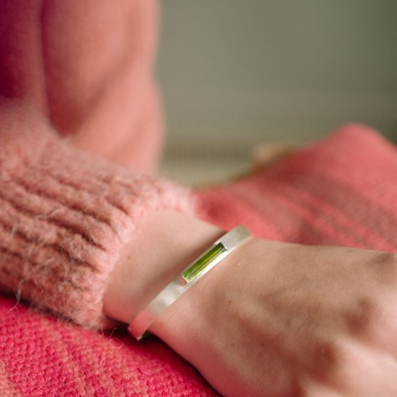 Silver cuff with green baguette tourmaline