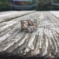 silver hammered stacking rings with diamond