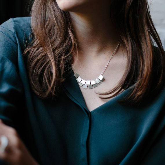 silver ruffle necklace