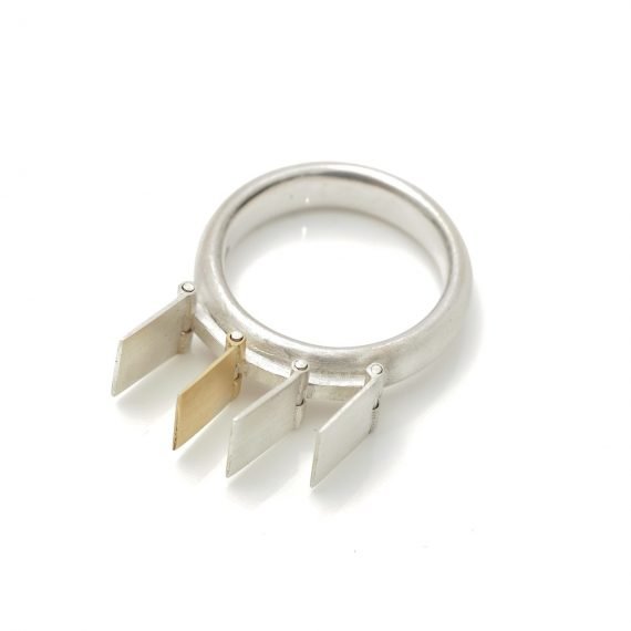 gold and silver ruffle ring