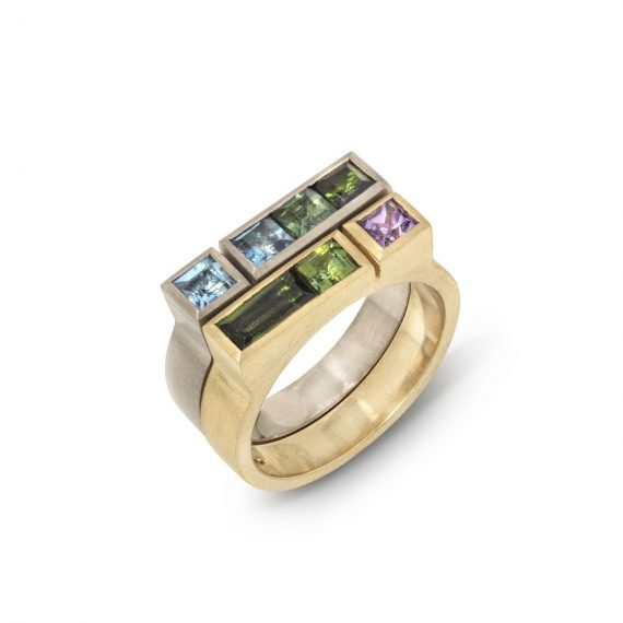 18ct gold narrow architect ring