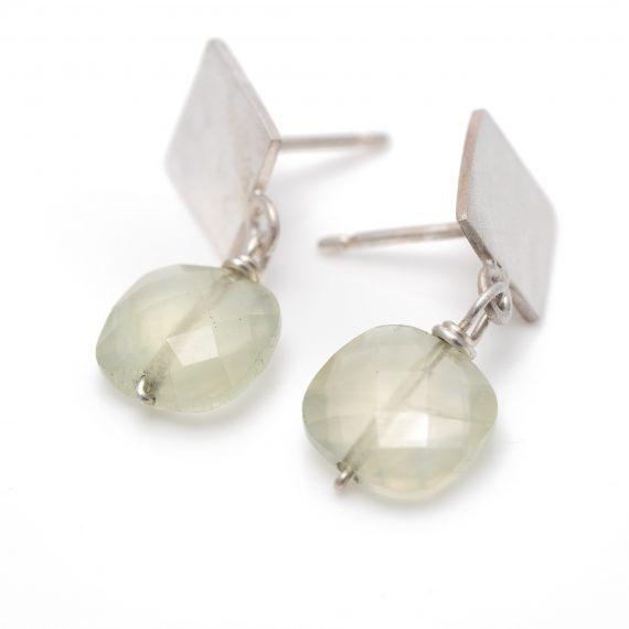 square studs with prehnite