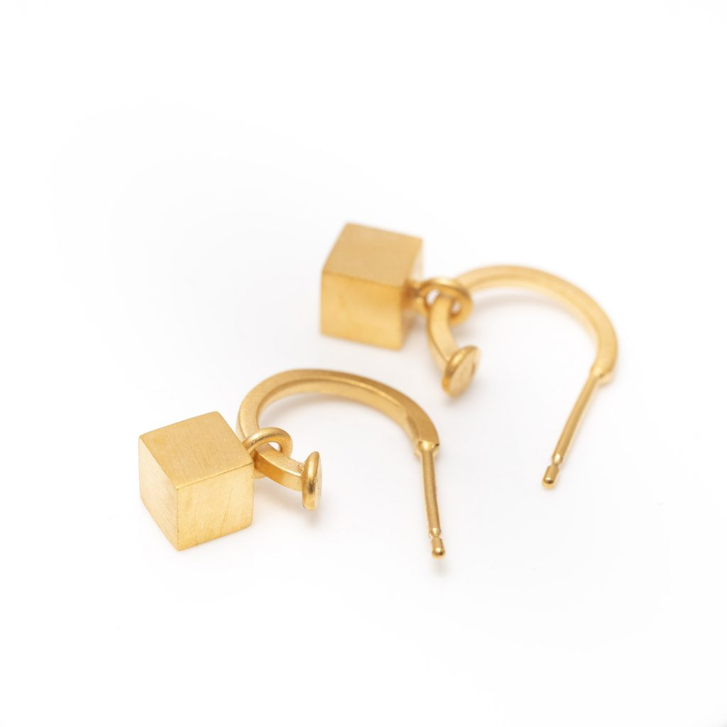 Gold vermeil hoop and cube earring