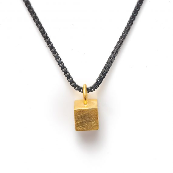 Tiny gold vermeil cube necklace