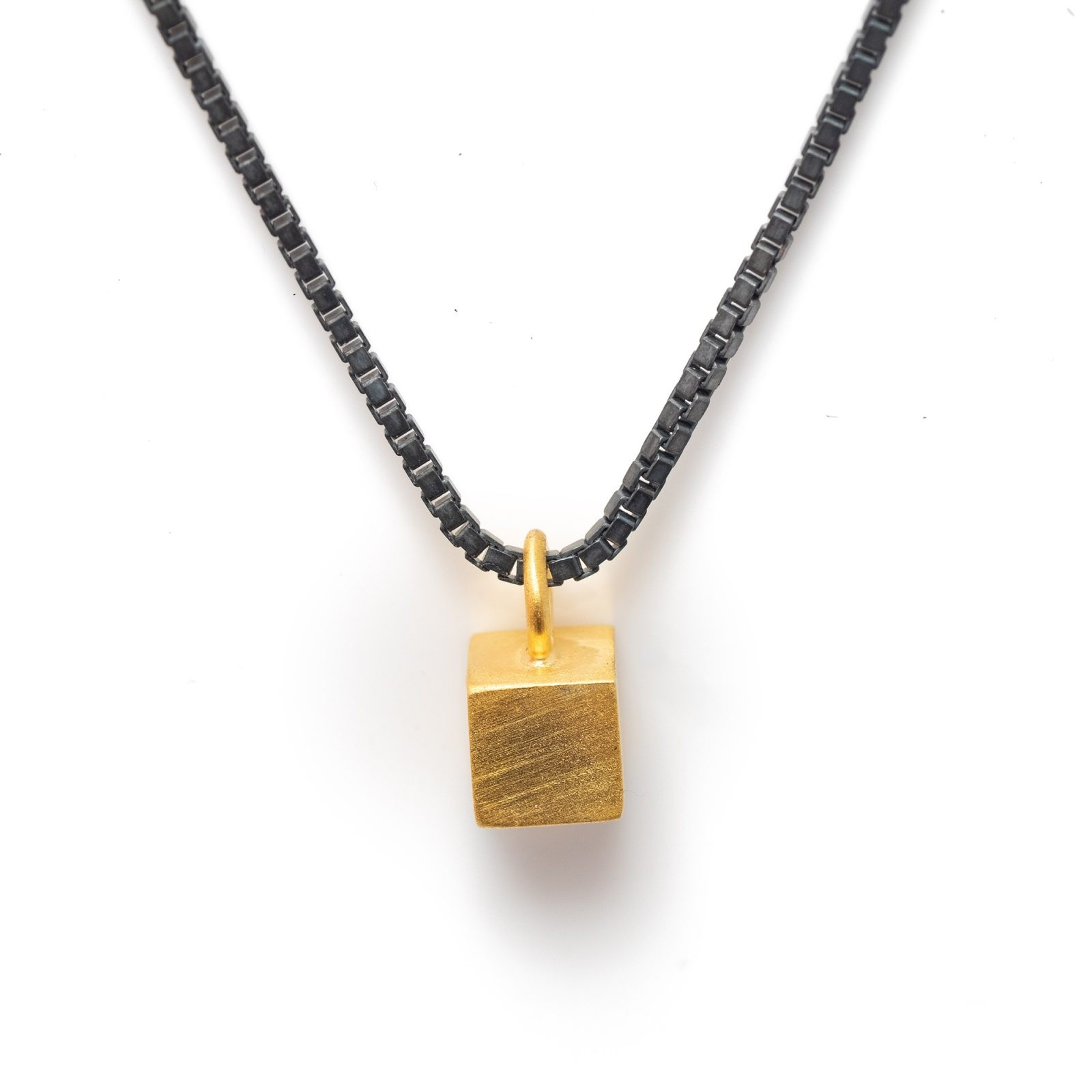 Tiny gold vermeil cube necklace