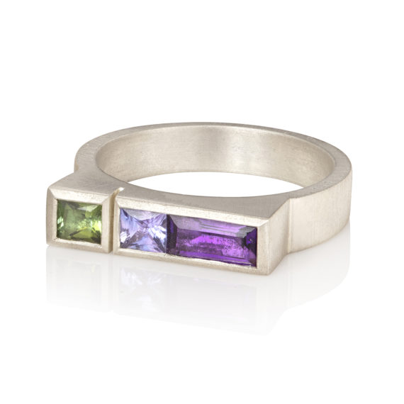 Silver Architect ring with amethyst, sapphire and tourmaline