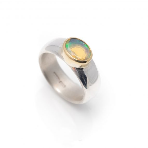 Wide chunky silver ring with opal