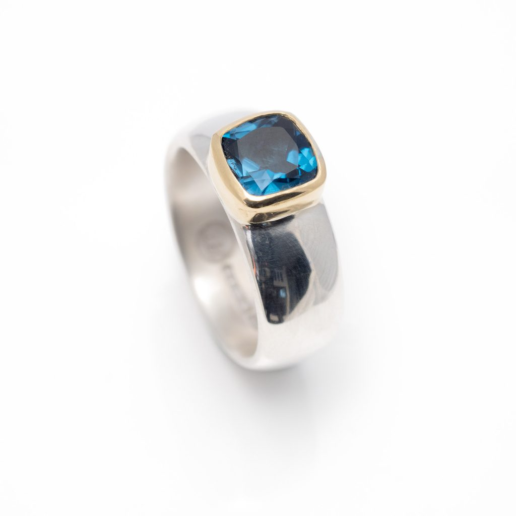 chunky silver ring with London blue topaz