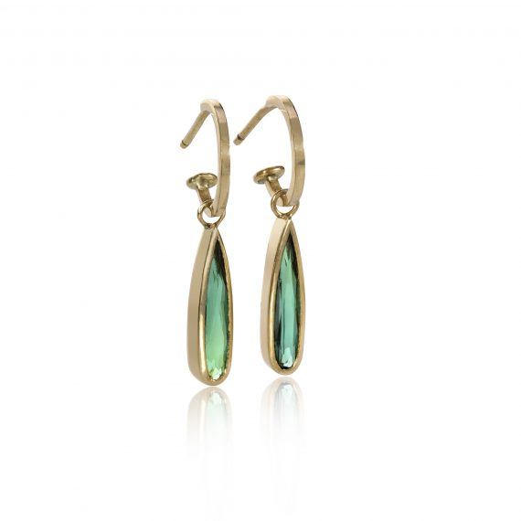18ct gold hoop earrings with tourmalines drops
