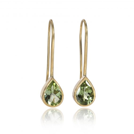 18ct gold peridot drop earrings