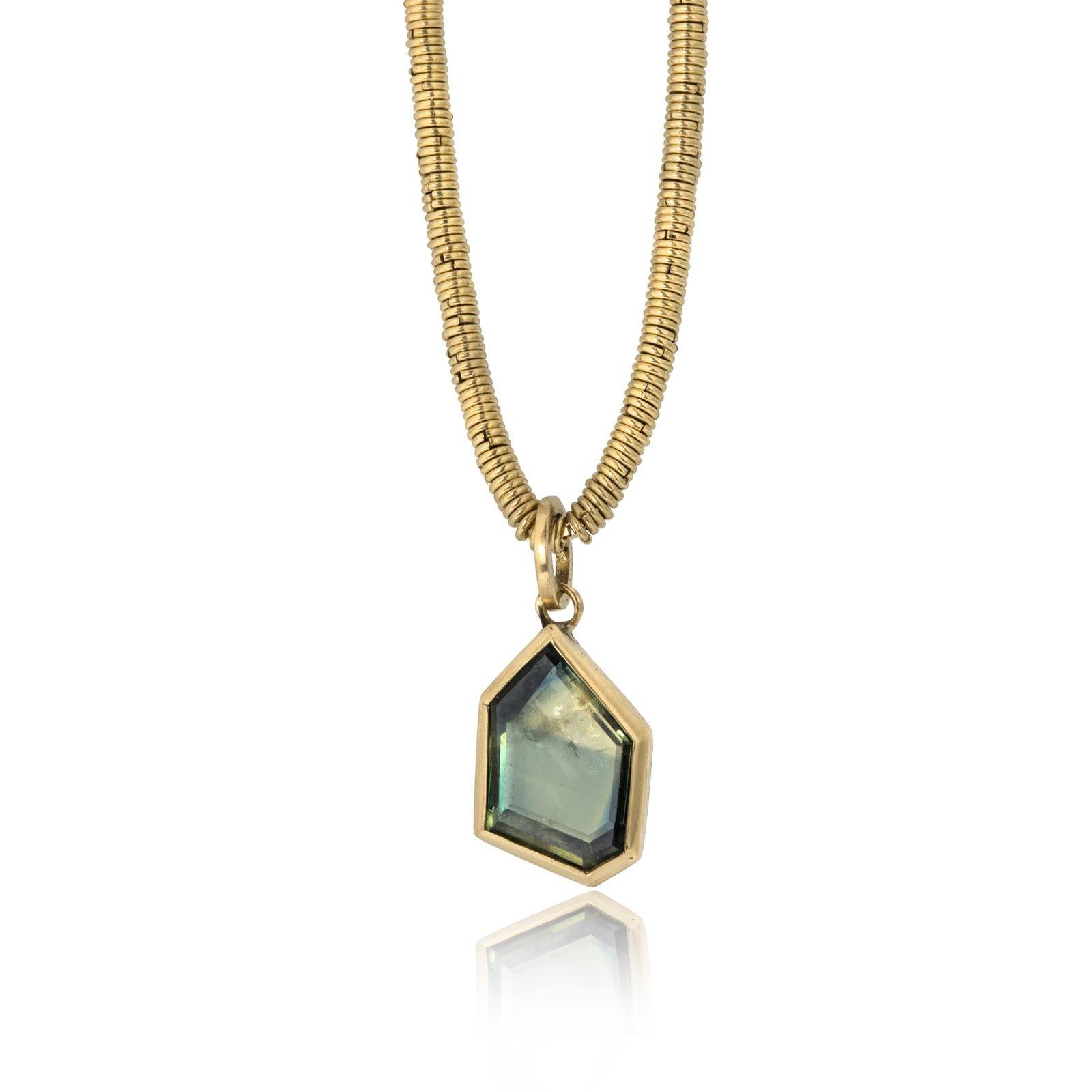 green geometric sapphire pendant