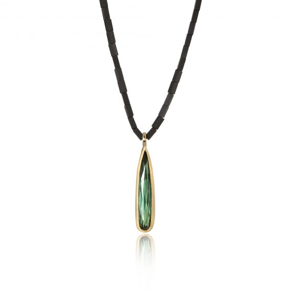 Drop Tourmaline set in 18ct gold on Haematite bead necklace