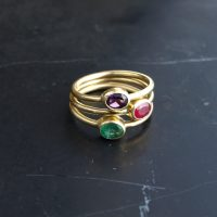 set of three tiny gold rings