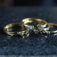 18ct gold stacking rings with diamonds