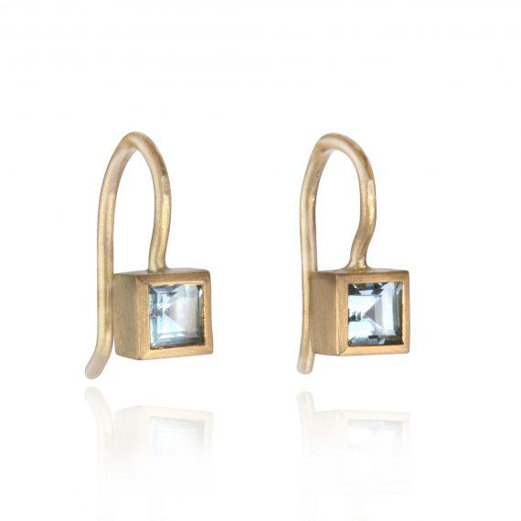 Tiny 18ct gold aquamarine square drop earrings