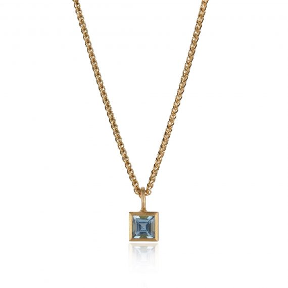 Tiny square 18ct gold aquamarine necklace