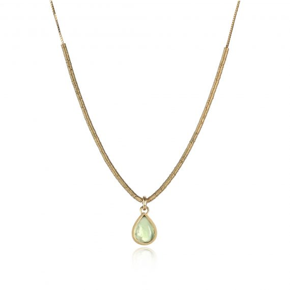18ct gold necklace with prehnite pendant