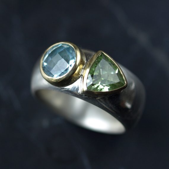 chunky wide silver and gold ring with topaz and peridot
