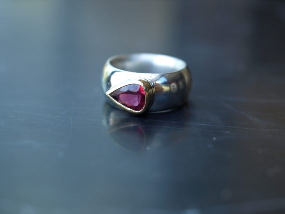 Pink tourmaline gold and silver ring