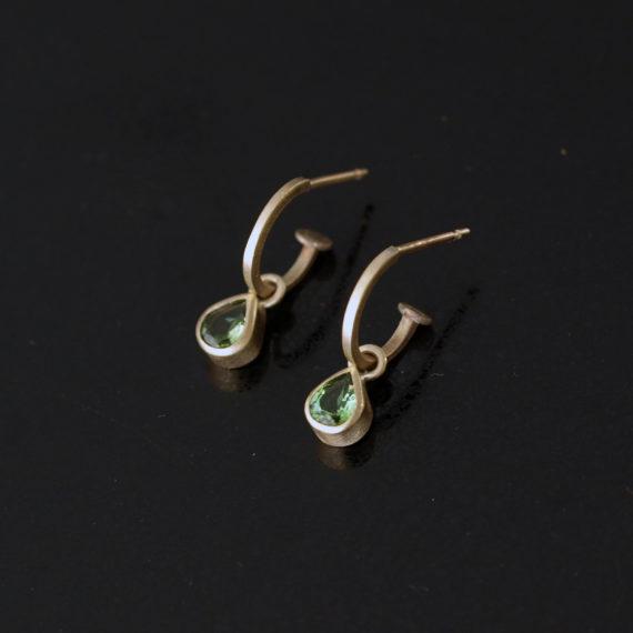 9ct gold tourmaline hoop earrings