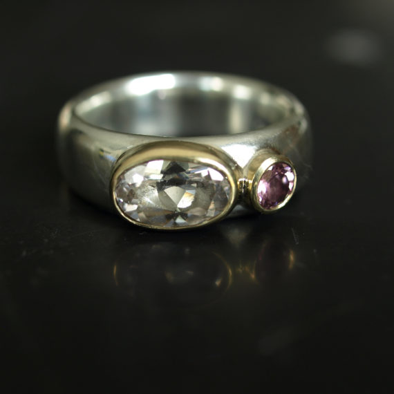 Wide silver ring with morganite and tourmaline