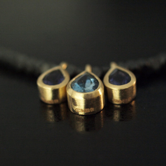 iolite and aquamarine drop necklace