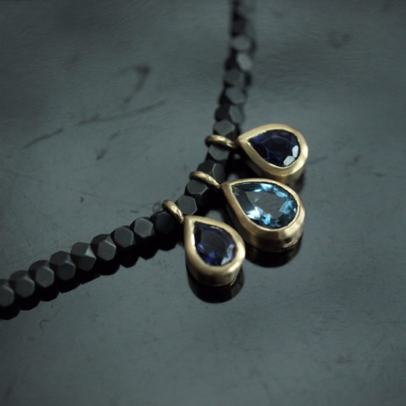 iolite and aquamarine drop necklace
